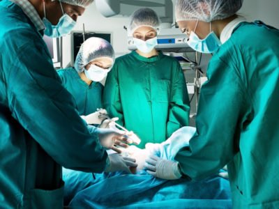 Surgery team operating on anatomical specimen in a tissue bank surgical training facility