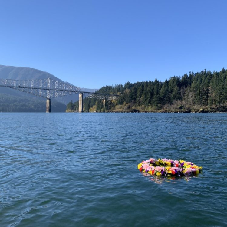 Floating out into the Columbia River